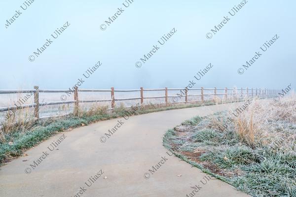 northern Colorado bike trail in fog
