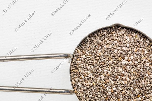 chia seeds in a metal scoop