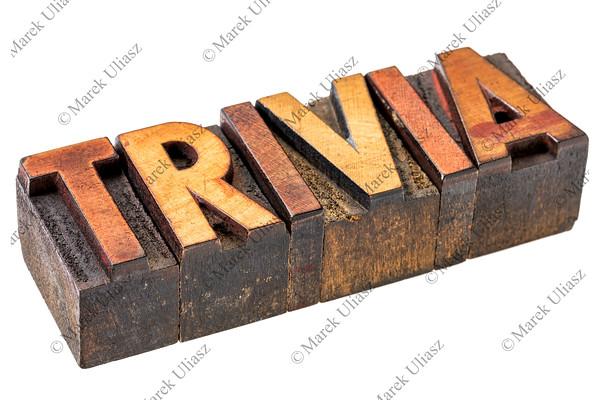 trivia word in letterpress wood type