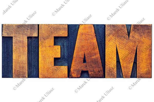 team word in wood type