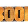 book word in letterpress wood type