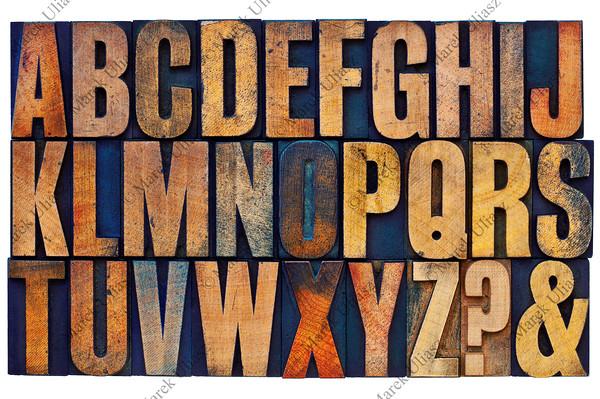alphabet in letterpress wood type blocks