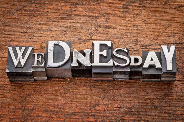 Wednesday word in metal type
