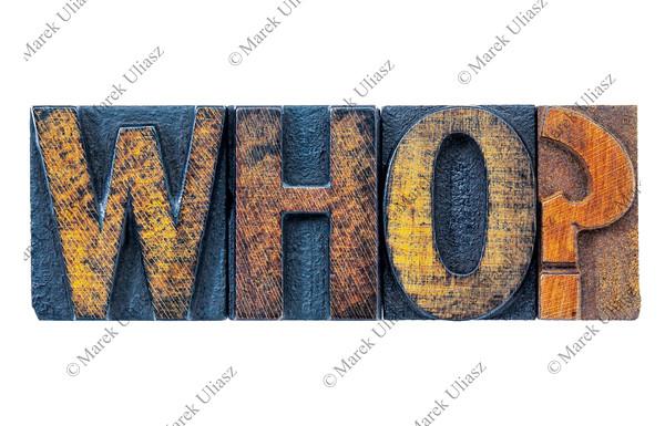 who question in letterpress wood type