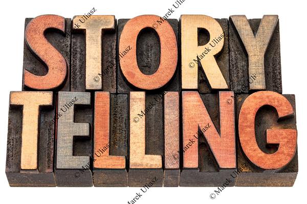 storytelling word in wood type