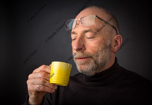 Enjoying morning espresso coffee