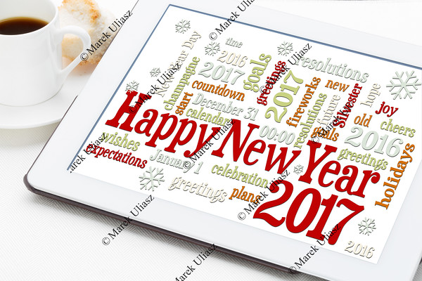 Happy New Year 2017 on blackboard word cloud