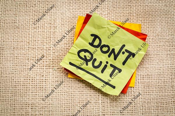 Do not quit advice on sticky note