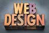 web design banner in wood type