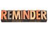 reminder word in wood type