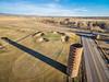farm silo and golf course