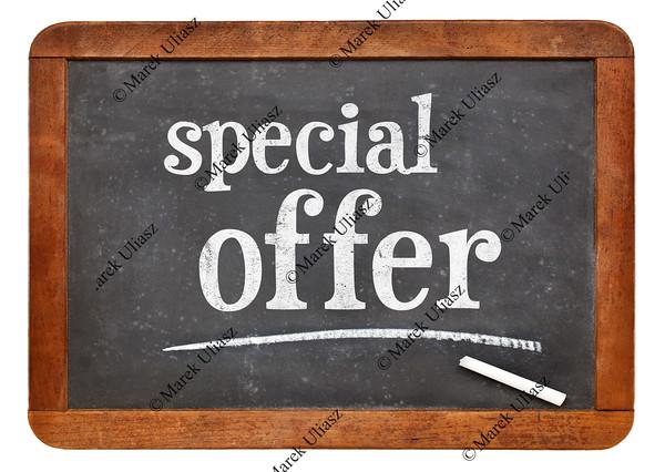 special offer  blackboard sign