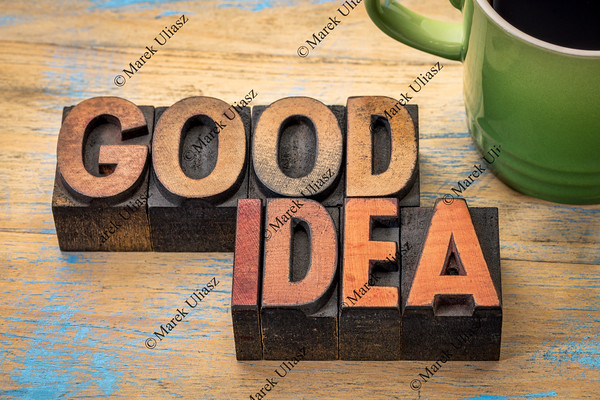 good idea words in wood type