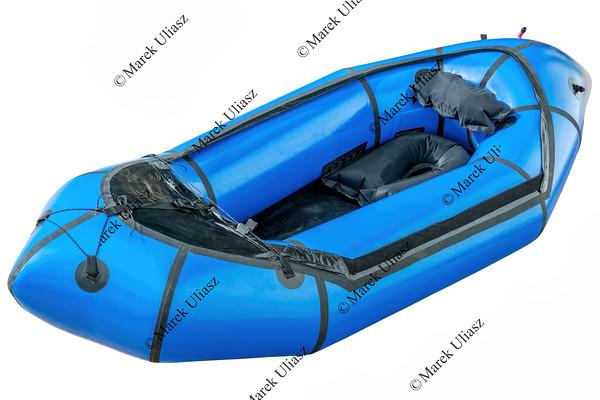 blue packraft isolated
