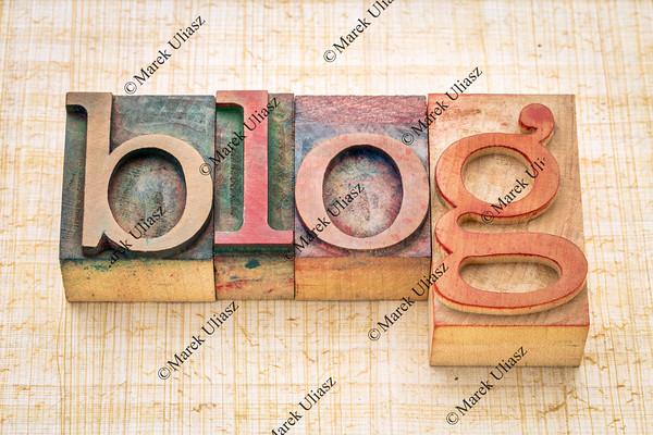 blog word in letterpress wood type