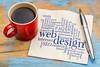 web design word cloud on napkin