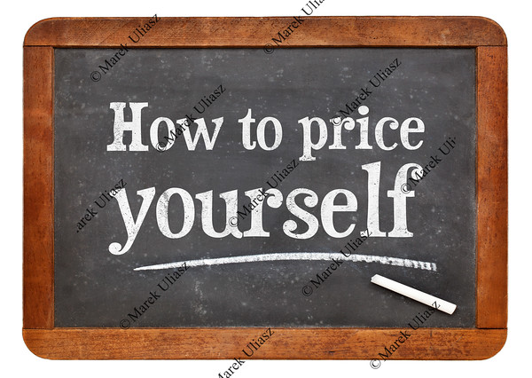 How to price yourself blackboard sign