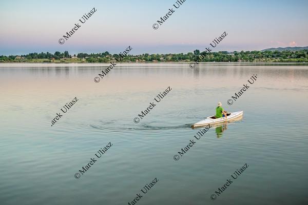evening canoe paddling in Colorado