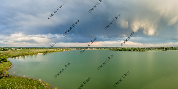 Stormy clouds over lake