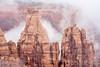 sandstone formations in fog