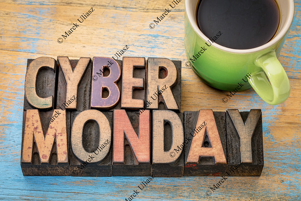 Cyber Monday in wood type