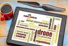 drone word cloud on digital tablet