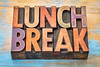 lunch break banner in wood type