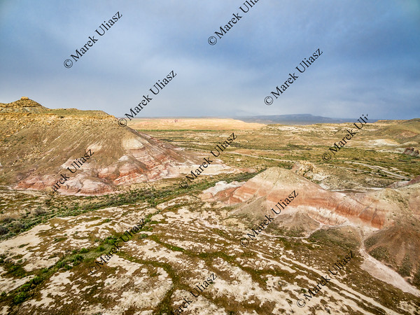 Utah badlands aerial view