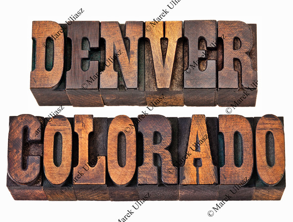 Denver and Colorado in wood type