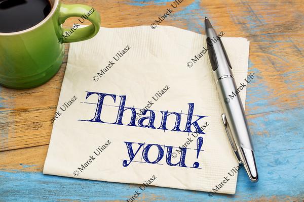 Thank you on napkin