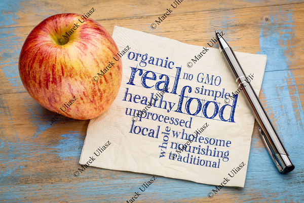 real and organic food word cloud