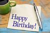 Happy Birthday greetings on napkin