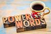 power words in vintage wood type