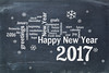Happy New Year 2017 on blackboard