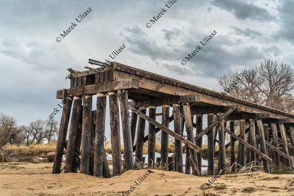 railroad timber trestle destroyed