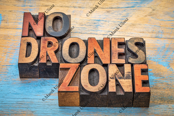 No drones zone sign or banner