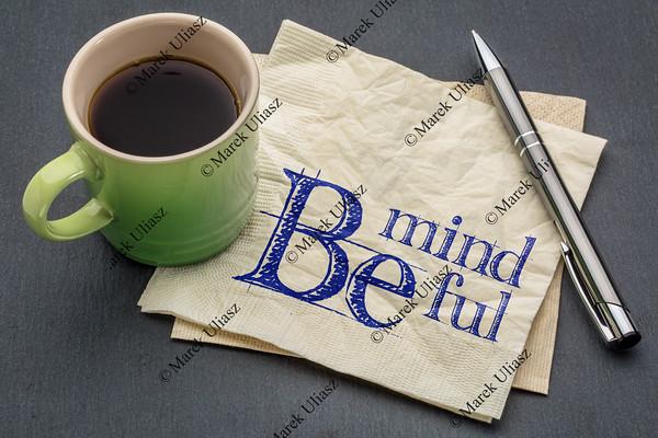 Be mindful note on napkin