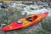 whitewater kayak and river rapid