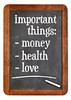 Money, health and love