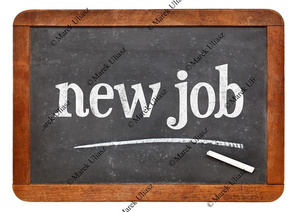 New job blackboard sign
