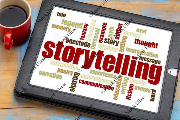 storytelling  word cloud on tablet