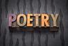 poetry word in wood type