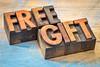 free gift words in vintage wood type