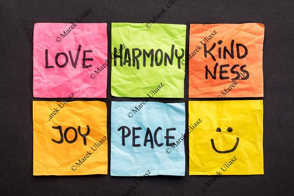 love, harmony kindness, joy and peace