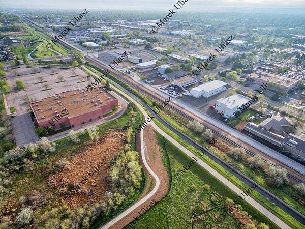 aerial view of bike trails