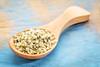 hemp seed hearts on wooden spoon