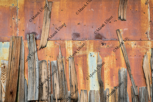 rusty metal and wood shingles