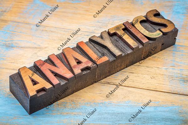 analytics word in wood type