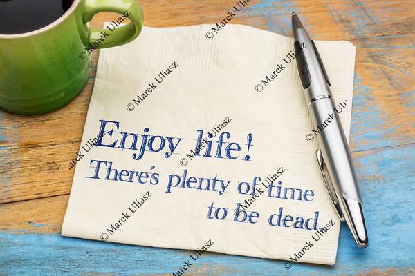 Enjoy life - napkin note