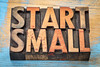 start small banner in wood type